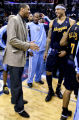 (SPECIAL TO THE ROCKY MOUNTAIN NEWS) Denver Nuggets player Carmelo Anthony (L) talks with teammate...
