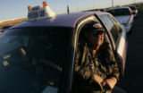 Freedom cab driver, Stan Howton (cq) waits in the taxi staging area at DIA Thursday January 29,...