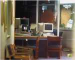 A view through a back door into the Columbine High School library shows some of the damage from...