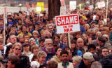 RMN 328- 5/1/99  On the west steps of the state capitol a protest organized by Colorado Coalition...