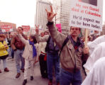 RMN 322- 5/1/99  In front of the Adam Mark Hotel a protest against the NRA was  organized by...