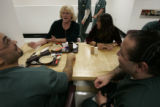 (facing camera L-R)  Sandra Thomas (cq) a therapist, and Christine Lassiter (cq) operations...