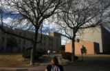 Toswanette Neal walks towards her dorm-room after her english class at Colorado State University...