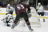 #55 Cody Mcleod shoots a wrap around winning goal in the 3rd  period as the Avalanche beat the...