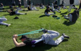 (0144) Matt Belisle stretches at Colorado Rockies spring training at Hi Corbett Field in Tucson,...