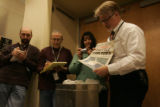 Rocky Mountain News Administration Editor Randall Roberts opens a Rocky Mountain News time capsule...