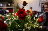(PG0740) Floral designers at Bouquets in LoDo work on arrangements for Valentine's Day on February...
