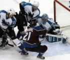 (DENVER, CO - 4/28/04) -- Colorado Avalanche Peter Forsberg, #21, attacks the goal against  San...