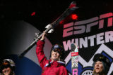 Sarah Burke (cq) celebrates winning the gold medal of the skiing superpipe women's final at the...