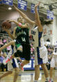 414  5A girls basketball: Thunder Ridge, #4 Carlie Needles lays one while being fouled by...