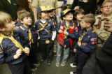 Cub Scouts with  Pack 642 from Evergreen speak with Rep. Terrance Carroll (on right out of frame)...