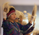 Kim Charlie (cq) of the  Kickaput Singers and Dancers of Alaska performs in CU-Boulder's...