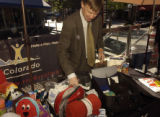 Mayor John Hickenlooper(cq) packed his own READY kit for emergency situations in Republic Plaza,...