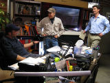 Pat Uskert discussing evidence with Bill Birnes and Ted Acworth at UFO Hunters Headquarters