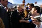 Presidential candidate Ron Paul shook hands with supporters when visited Giuseppie's Depot...