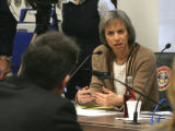 Rocky Mountain News Photographer Javier Manzano  (CQ ) gets questioned by  Rep. Claire Levy (cq)...