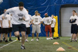 DM1305   Ryan Clement runs in a shuttle drill during the tryouts for the Colorado Crush in...
