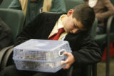 Skyline Vista Elementary School student, 10-year-old Horacio Duerte (cq) waits to sit at the...