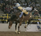 Andy Martinez, Pavillion WY, rides North Pole, in Bareback Bronco Riding event, Thursday morning,...
