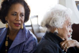 Alfreda Ingram Moore, right, in her home in Denver on January 23, 2008, with her daughter Schyleen...