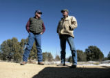 (Easement 2) Max Vezzani (cq), left, and fellow rancher Frank Menegatti (cq) talk about their...