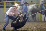 Joseph Parsons (cq), from Marana, AZ flips a calf as part of the Tie Down Roping event at the...