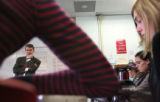 DPS superintendent Michael Bennet (cq) tries his hand at being a substitute teacher, at an...