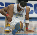 [ JPM0196 ] Denver Nuggets Kenyon Martin pauses on the court after appearing to land awkwardly on...