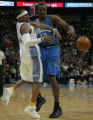 [ JPM0600 ] Orlando Magic Dwight Howard, right, fouls Denver Nuggets   Allen Iverson late in the...