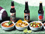 Super bowl chili and beer, for double truck layout.   Left to right:  Chile Verde, Green Chile...