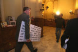 State Representative Douglas Bruce (cq) exits an 8am press conference Tuesday January 14,2008. He...