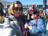 Laurie O'Connell and son son, Ryder, 2, take in the Winter X-Games in Aspen.  (LESLEY...