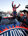VASH107 - Jeff Gordon, celebrates his win of the Subway 500 NEXTEL Cup stock car race at...