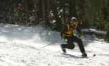 One of the many skiers  enjoys a run Sunday afternoon October 23, 2005 at Arapahoe Basin. Arapahoe...