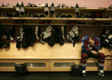 BG0594 Colorado Avalanche Ben Guite #28 sits in the lockerroom after losing to the Detroit Red...