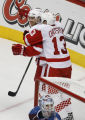 [RMN2036] Detroit Red Wings left wing Henrik Zetterberg #40 celebrates his goal with Detroit Red...