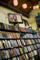 Books line the shelves and art decorates the ceiling and walls at West Side Books on 32nd street...