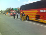 Bus fire in Los Angeles that the Denver Nuggets were on Sunday, April 20, 2008. DENVER...