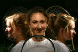 Portrait of tennis players from left- Ashley Sanders (cq), 17, Kelsey Brading (cq), 17, Lindsey...
