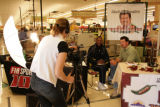 Sam Adams interviews with former Bronco/ESPN analyst Mark Schlereth at the King Soopers in...