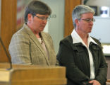 L to R: Kate Burns (cq) and her partner Sheila Schroeder (cq) in Denver County Court Tuesday May...