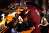 (PG3870) State senators debate global warming at the Capitol on the last day of the legislative...