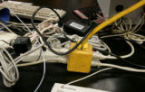 There is no more room to plug in science equipment  in an overcrowded instrument lab in the...
