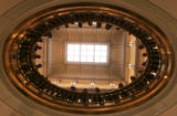 High school band students from Camby Minnesota look down one of the balcony openings during a tour...
