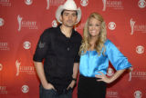 Brad Paisley and Carrie Underwood at the press conference announcing the nominees for the 43 rd...
