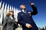 (COLORADO SPRINGS, Colo., Oct. 21, 2005) Debby Regni stands with her husband, Air Force Lieutenant...