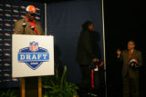 Ross Clady, (cq) father of Denver Broncos first round draft pick Ryan Clady (cq) stands at the...