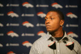Denver Broncos second round draft pick Eddie Royal (cq) a receiver from Virginia Tech met the...