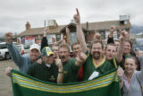 A few of the regulars show their loyalty for their team, the Packers,  outside the Rocky Flats...