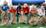 Alyssa Quick, second from right, of Ames Elementary took third place in the potato sack race.